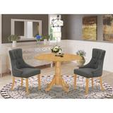 Canora Grey Mckey 3 Piece Drop Leaf Solid Wood Dining Set Wood/Upholstered Chairs in Brown, Size 29.5 H in   Wayfair