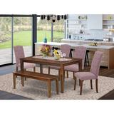 Ophelia & Co. Gilliard 6 - Piece Solid Wood Dining Set Wood/Upholstered Chairs in Brown, Size 29.0 H in | Wayfair 2C11460DA43D4A17875BF762F8A7BCEF