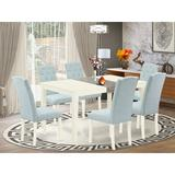 Ophelia & Co. Gilligan 6 - Person Counter Height Solid Wood Dining Set Wood/Upholstered Chairs in White, Size 29.0 H in | Wayfair