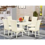 One Allium Way® Jaylon 7 Piece Extendable Solid Wood Dining SetWood/Upholstered Chairs in White, Size 30.0 H in | Wayfair