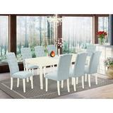 Winston Porter Cuaron 9 Piece Extendable Solid Wood Dining Set Wood/Upholstered Chairs in White, Size 30.0 H in | Wayfair