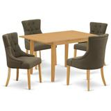 "Winston Porter Saragossa 5 Piece Extendable Solid Wood Dining Set Table Color: Oak, Chair in Oak/Dark Gotham Gray, Size 30""H X 31""W X 53""D   Wayfair"
