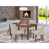 Winston Porter Corto 5 Piece Solid Wood Dining Set Wood/Upholstered Chairs in Brown, Size 30.0 H x 36.0 W x 60.0 D in   Wayfair