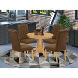 Winston Porter Stephene 5 - Piece Solid Wood Dining SetWood/Upholstered Chairs in Brown, Size 30.0 H x 36.0 W x 36.0 D in | Wayfair