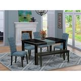 Winston Porter Tengelsen 6 Piece Solid Wood Dining Set Wood/Upholstered Chairs in Black, Size 30.0 H x 36.0 W x 60.0 D in   Wayfair