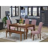 Winston Porter Tengelsen 6 Piece Solid Wood Dining Set Wood/Upholstered Chairs in Brown, Size 30.0 H x 36.0 W x 60.0 D in | Wayfair