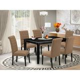 Winston Porter Lockaby 7 Piece Solid Wood Dining Set Wood/Upholstered Chairs in Black, Size 30.0 H x 36.0 W x 60.0 D in | Wayfair