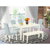 Ophelia & Co. Gilliard 6 - Piece Solid Wood Dining Set Wood/Upholstered Chairs in White, Size 29.0 H in | Wayfair 877AA83CB48F419681C848228D2F4ECA