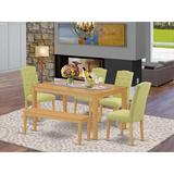 Ophelia & Co. Gilliard 6 - Piece Solid Wood Dining Set Wood/Upholstered Chairs in Brown, Size 29.0 H in | Wayfair A5EB16FECFDE4085AE8B023D039D9A71