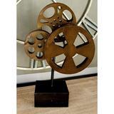 Williston Forge Migel 3 Bronze Metal Movie Reels Table Decor Metal in Black, Size 16.0 H x 11.0 W x 5.0 D in   Wayfair