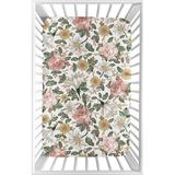 Sweet Jojo Designs Vintage Floral Mini Fitted Crib Sheet Polyester in Green/Pink/Yellow, Size 5.0 H x 24.0 W x 38.0 D in | Wayfair
