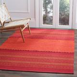 World Menagerie Bokard Striped Hand-Woven Flatweave Cotton Area Rug Cotton in Orange/Red, Size 72.0 H x 48.0 W x 0.25 D in | Wayfair
