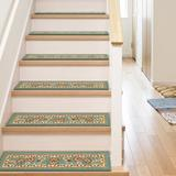Well Woven Kings Court Oriental Non-Skid Stair Tread Synthetic Fiber in Green, Size 0.3 H x 31.0 W x 9.0 D in | Wayfair 6636-STE