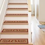 Well Woven Kings Court Oriental Non-Skid Stair Tread Synthetic Fiber in Red, Size 0.3 H x 31.0 W x 9.0 D in | Wayfair 6630-STE