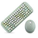 KBD Mini Wireless Keyboard Mouse Set Round Keycap Multi-Colour Cute Lovely for Girls (Multicolor Green)
