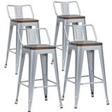 """Alunaune 26"""" Metal Bar Stools Set of 4 Industrial Counter Stool Kitchen Counter Height Bar Stools with Back Wooden Seat-Silver"""
