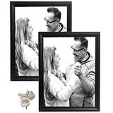 hierkryst 11x14 Picture Frame Black Picture Frames Made of Solid Wood for Wall Mounting Photo Frame, Pack of 2