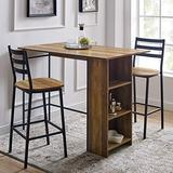 "Walker Edison AZW48LNSB3PRO 3 Piece Drop Leaf Counter Table Dining Set with Storage, 48"", Rustic Oak"