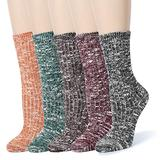 Leotruny Women's Slouch Vintage Knit Cotton Boot Socks (Marled Color- 5 Pairs)
