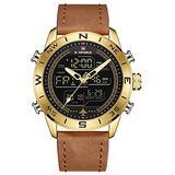 [Watches for Men ] NAVIFORCE 9144 Mens Watch - Business Fashion Luxury - Digital Quartz Dual Time Display - Casual Japanese Quartz Watches (04)