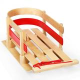 Costway Outdoor Play Baby Kids Wooden Sled w/ Solid Wood Seat