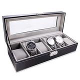 LOSKORIN Watch Box, 6 Slots PU Leather Watch Case, Glass Topped Watch Display Storage Case Organizer for Storage and Display, Black