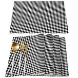 ARTSHOWING Set of 4 Placemats Heat-Resistant for Dining Table Linen Table Mats Classic Geometric Rectangle Pad Placemat 12 x 18 Inch - Houndstooth Black White