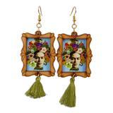 Wood dangle earrings, 'Frida Adorned'