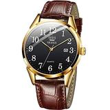 OLEVS Men Watch Brown Leather Casual Classic Large Black Face Number Easy Reader Analog Quartz Dress Waterproof 3ATM Wristwatch