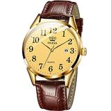 OEVS Men Watch Brown Leather Casual Classic Large Gold Face Number Easy Reader Analog Quartz Dress Waterproof 3ATM Wristwatch
