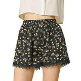Allegra K Women's Shorts Allover Floral Printed Lace Trim Hem Elastic Waist XL Black-Orange