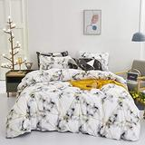 Wellboo White Marble Comforter Sets White and Gold Geometric Triangle Bedding Sets Cotton Queen Full Abstract Grey Texture Comforters Women Adults Gingham Blocks Soft Luxury Warm Bedding 2 Pillowcases