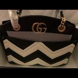 Gucci Bags | Authentic Gucci Marmont Gg Chain Tote Nwt | Color: Black/White | Size: 11l X 9.5w X 3d