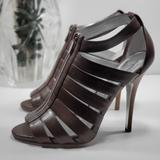 Jessica Simpson Shoes   Brown Leather Cut Out Peep-Toe Ankle Strap Boots   Color: Brown   Size: 8.5