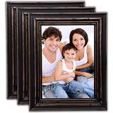 Bamber Wood Picture Frames 5x7 Picture Frame Set Rustic Picture Frames Black Picture Frames Vintage Wedding Family Wall Wooden Picture Frames, Pack of 3
