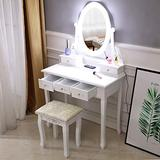 Vanity Set with Mirror and Light 5 Drawer Dressing Table and Cushioned Stool White