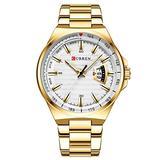 Men Watch Quartz Wristwatch Sports Watches Clock Male Stainless Steel Band Fashion Business Watch (Gold White)