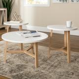 3-Piece Mid Century Modern Accent Table Set in Faux White Marble/Light Oak - Walker Edison GRO30EMCTLO