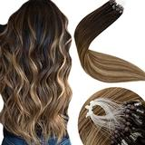 Hair Extensions Micro Loop 20 Inch Micro Rings Human Hair Ombre Darkest Brown to Medium Brown with Ash Blonde Silicone Micro Beads Stick Tip Hair Extensions 50g/50s