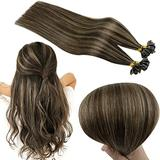 RUNATURE Fusion Hair Extensions Human Hair U Tip 18 Inch Darkest Brown Highlighted with Light Brown Hair Extensions 50g Human Hair U Tip Hair Extensions Remy Hair Prebonded Fusion Hair