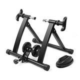 Flexzion Bike Trainer, Indoor Stationary Exercise Turbo Training Riding 7 Speed Variable Magnetic Resistance Stand, Front Wheel Stand Pad Included Compatible for 26-28 Inch Wheel Size, Cycling Sports