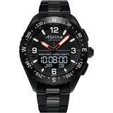 Alpina Men's AlpinerX Fiber Glass Swiss Quartz Sport Watch with Stainless Steel/Titanium Strap, Black, 22 (Model: AL-283LBB5AQ6B)