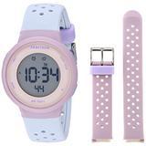 Armitron Sport Women's Digital Chronograph Blush Pink and Powder Blue Interchangeable Silicone Strap Watch, 45/7124PBLST, Blue/Lavender