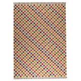 Latitude Run® Checkered Handwoven Wool Red/Orange Area Rug Wool in Brown/Orange, Size 66.0 W x 0.25 D in | Wayfair KUI3926 15914427