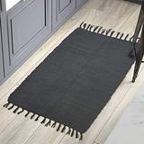 YoKii 2' x 4'4'' Grey Runner Rug with Anti-Slip Rug Pad, Cotton Hand Woven Reversible Chindi Rag Rug Runners for Kitchen Bathroom Hallway, Machine Washable (2' x 4'4'', Grey)