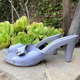 Burberry Shoes | Burberry Lilac Wooden Slide Mule Heels | Color: Purple/Silver | Size: 11