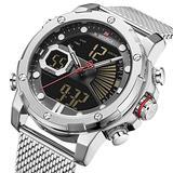 [Watches for Men ] NAVIFORCE 9172s Mens Watch - Business Fashion Luxury - Digital Quartz Dual Time Display - Casual Japanese Quartz Watches (05)