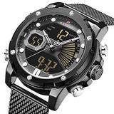 [Watches for Men ] NAVIFORCE 9172s Mens Watch - Business Fashion Luxury - Digital Quartz Dual Time Display - Casual Japanese Quartz Watches (01)