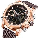 [Watches for Men ] NAVIFORCE 9172s Mens Watch - Business Fashion Luxury - Digital Quartz Dual Time Display - Casual Japanese Quartz Watches (04)