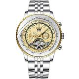 Men's Self Winding Automatic Tourbillon Calendar Watch Mens Stylish Wrist Watch Analog Chronograph Business Watches (Watch, White-Dial)